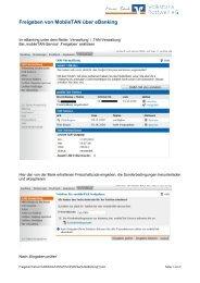 Freigeben von MobileTAN über eBanking - Volksbank Rottweil
