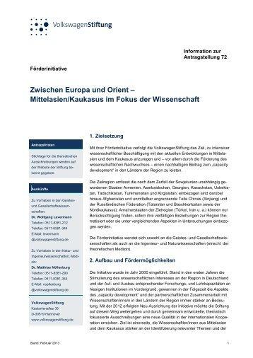 Information zur Antragstellung 72 - VolkswagenStiftung : Seite nicht ...