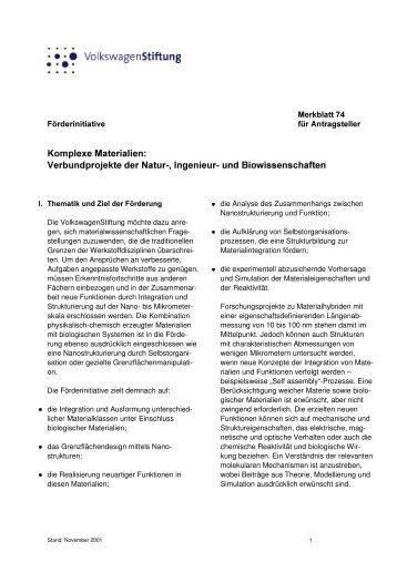 Merkblatt 74 - VolkswagenStiftung : Seite nicht gefunden