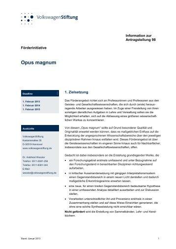 Information zur Antragstellung 98 - VolkswagenStiftung : Seite nicht ...