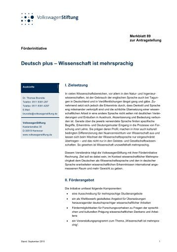 Merkblatt 89 - VolkswagenStiftung : Seite nicht gefunden