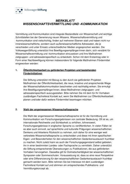 MB Wissenschaftsvermittlung und -kommunikation