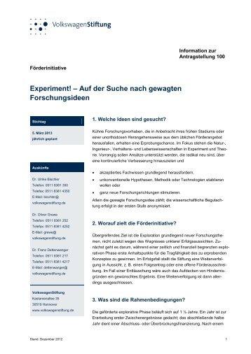Information zur Antragstellung 100 - VolkswagenStiftung : Seite nicht ...
