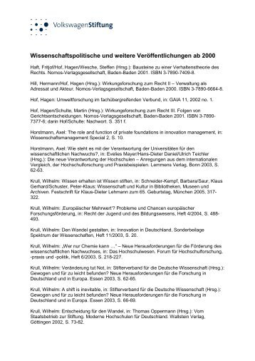 Wissenschaftspolitische und weitere Veröffentlichungen ab 2000