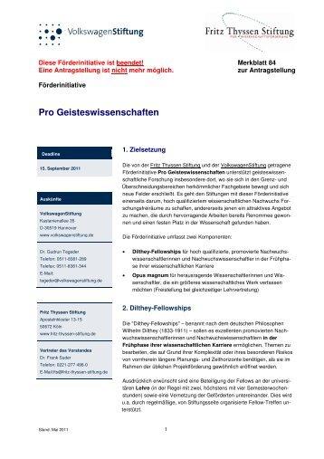 Merkblatt 84 - VolkswagenStiftung : Seite nicht gefunden