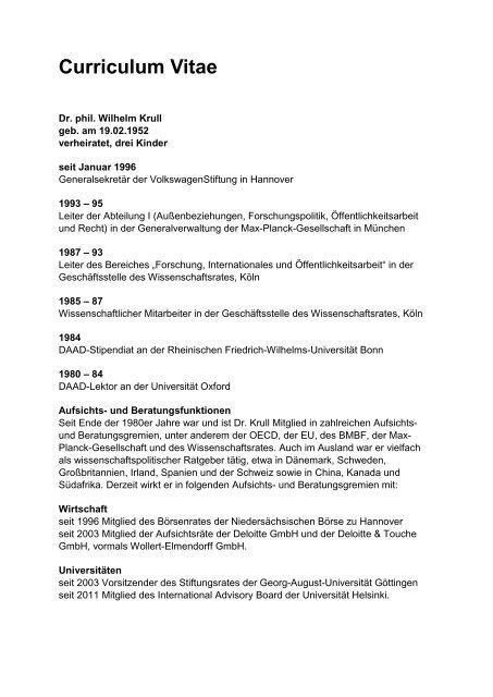 Curriculum Vitae - VolkswagenStiftung
