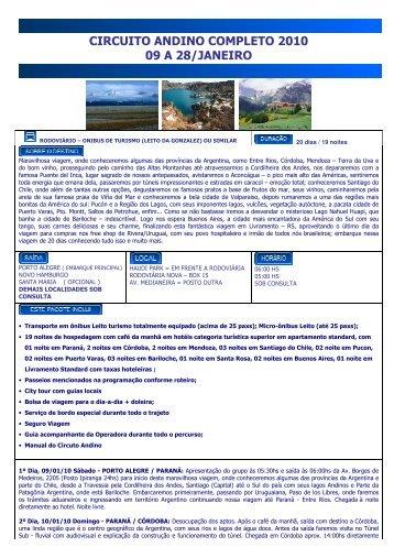 CIRCUITO ANDINO COMPLETO 2010 09 A 28/JANEIRO - Venatur