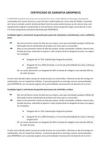 CERTIFICADO DE GARANTIA GRIDPNEUS
