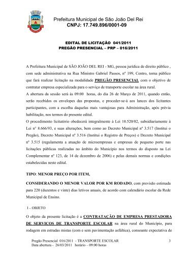 edital transporte escolar corrigido - prefeitura municipal de são joão ...