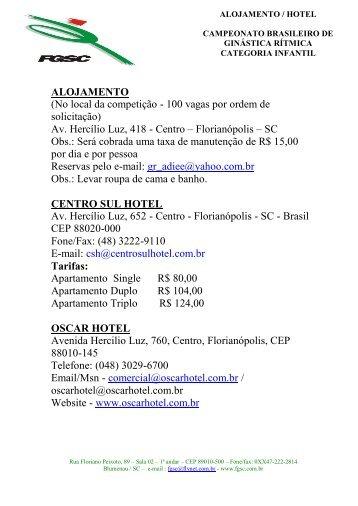 ALOJAMENTO - Confederação Brasileira de Ginástica