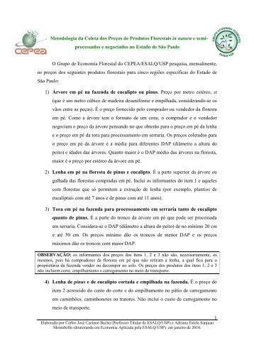 Metodologia - Produtos Florestais in natura e ... - Cepea - USP