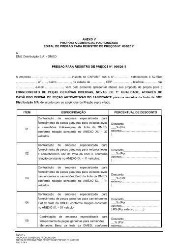 PREGÃO PARA REGISTRO DE PREÇOS N - DME Distribuição