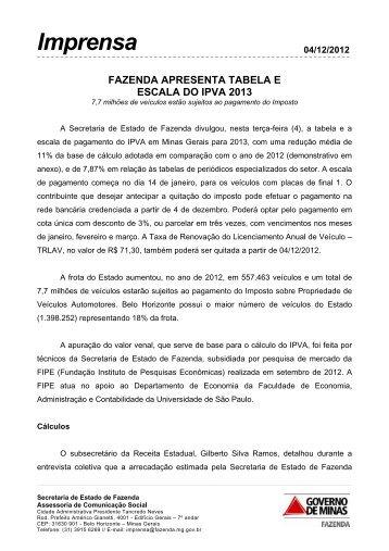 Imprensa - Secretaria de Estado de Fazenda de Minas Gerais
