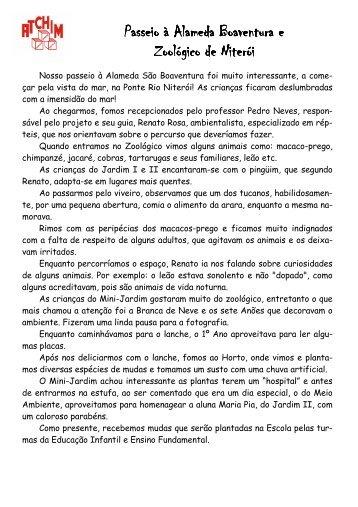 Alameda Boaventura e Zoo Niterói - Atchim Jardim Escola