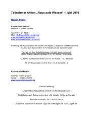 Teilnehmerliste Aktion Raus aufs Wasser 2010