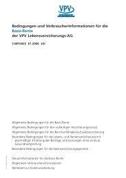 Bedingungen und Verbraucherinformationen für die Basis-Rente ...