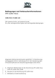 Bedingungen und Verbraucherinformationen VPV außer Haus