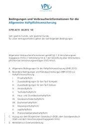 Bedingungen und Verbraucherinformationen für die Allgemeine ...