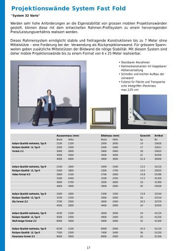 Projektionswände System Fast Fold - WAGNER VISUELL AG