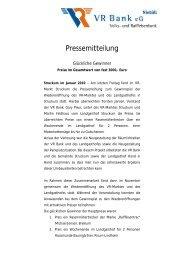 Pressemitteilung VR Markt Struckum - VR Bank eG, Niebüll