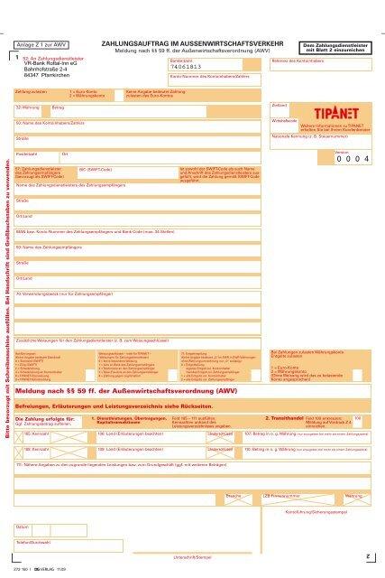 Formular Z1 Zahlungsauftrag Im Aussenwirtschaftsverkehr Pdf