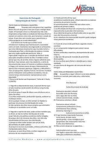 Exercícios de Português Interpretação de Textos ... - Projeto Medicina