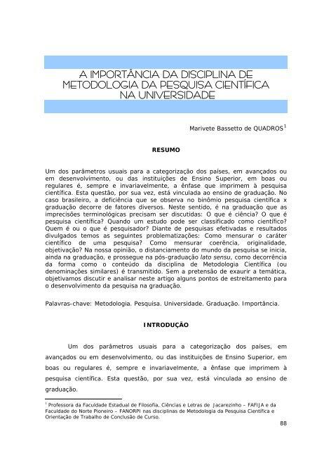 A importância da disciplina Metodologia da Pesquisa Científica