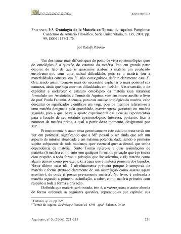 Ontología de la Materia en Tomás de Aquino - Aquinate