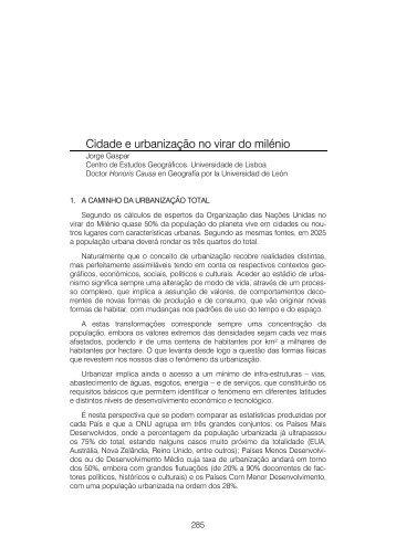 Cidade e urbanização no virar do milénio - Universidad de León