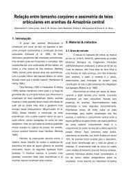 Relação entre tamanho corpóreo e assimetria de teias - PDBFF - Inpa