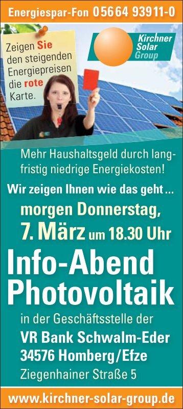 Info Abend Photovoltaik Vr Bank Schwalm Eder Volksbank