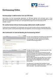 Kontoauszug Online - VR Bank Pinneberg eG