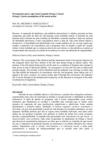 Pressupostos para o agis moral segundo Ortega y Gasset