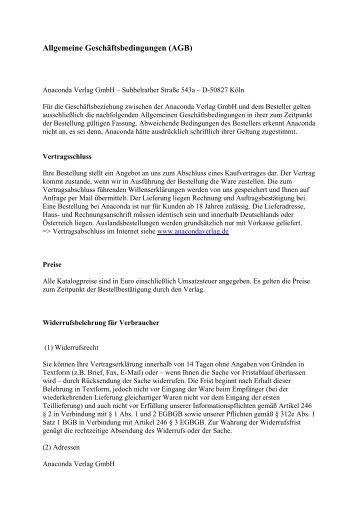 Allgemeine Geschäftsbedingungen (AGB) - Verlagsservice ...