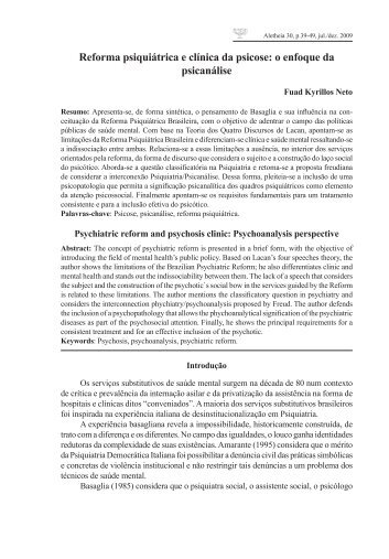 Reforma psiquiátrica e clínica da psicose: o enfoque da ... - PePSIC