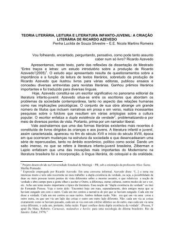 TEORIA LITERÁRIA, LEITURA E LITERATURA INFANTO-JUVENIL ...