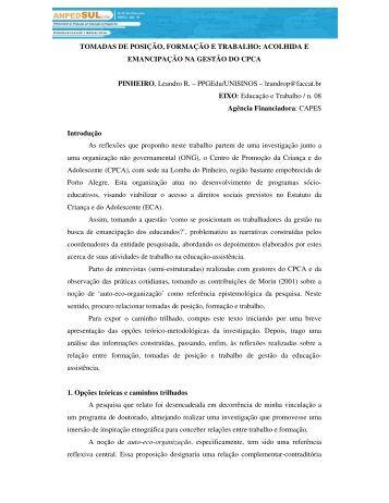 TOMADAS DE POSIÇÃO, FORMAÇÃO E TRABALHO: ACOLHIDA E ...