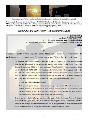 DISCIPLINA DE METAFÍSICA – RESUMO DAS AULAS [05/03/2010 ...