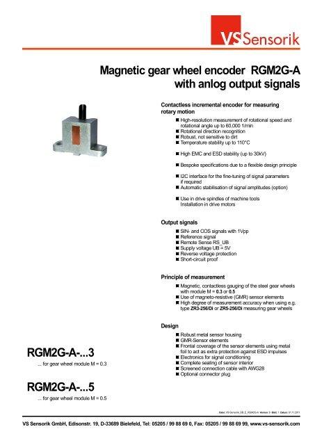 Magnetic gear wheel encoder RGM2G-A with anlog     - VS Sensorik