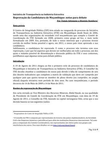 Reprovação da Candidatura de Moçambique: notas para debate - CIP