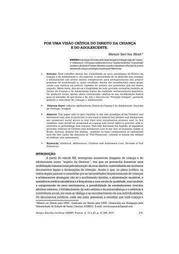 POR UMA VISÃO CRÍTICA DO DIREITO DA CRIANÇA E ... - Dialnet