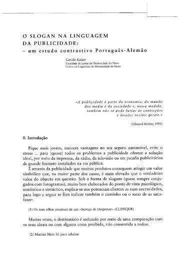 o slogan na linguagem da publicidade - Universidade do Porto