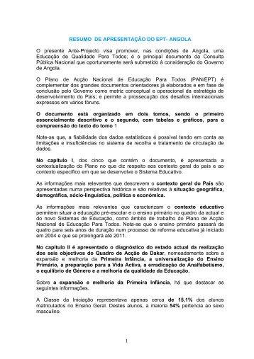RESUMO DE APRESENTAÇÃO DO EPT- ANGOLA O presente Ante ...