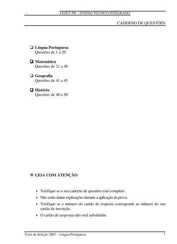 CADERNO DE QUESTÕES Língua Portuguesa Questões de 1 a 20 ...