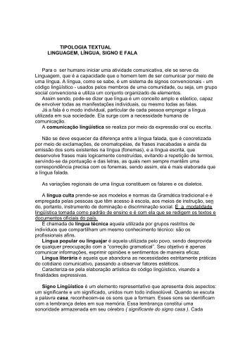 TIPOLOGIA TEXTUAL LINGUAGEM, LÍNGUA, SIGNO E ... - CFAP