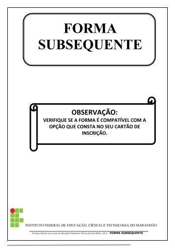 QUESTÕES DE LÍNGUA PORTUGUESA - Cefet-MA