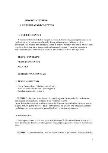 TIPOLOGIA TEXTUAL A ESTRUTURAÇÃO DOS TEXTOS O ... - CFAP