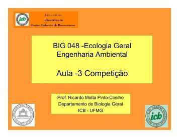 Aula -3 Competição - Ecologia e Gestão Ambiental - UFMG
