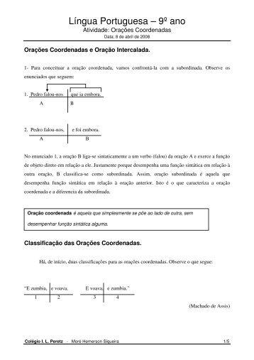 Língua Portuguesa – 9º ano - Peretz