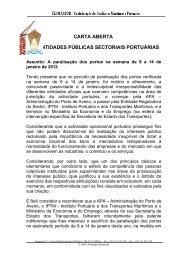 carta aberta às entidades públicas sectoriais portuárias